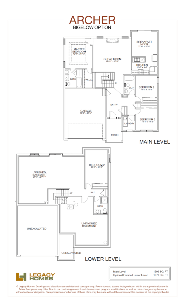 Archer floor plan, Bigelow.